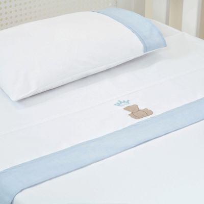 Imagem 1 do produto Jogo de lençol para berço em percal 180 Fios Blue Theodore - Biramar Baby