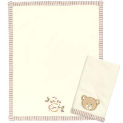 Imagem 1 do produto Kit com 2 fraldinhas de boca para bebe em algodão egípcio c/ jato de cerâmica e filtro solar fps 50 Nature Little Friend Bear - Classic for Baby