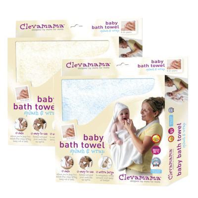 Imagem 1 do produto Kit: 2 Toalhas Mamãe Bebê com capuz Creme e Azul - Clevamama