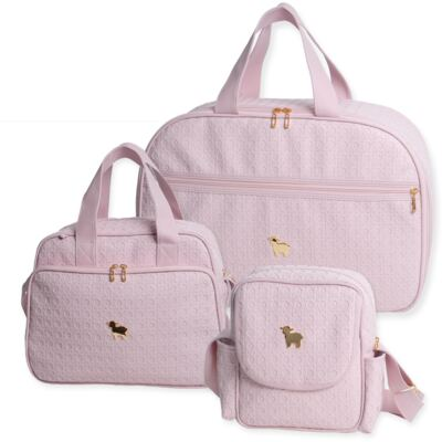 Imagem 1 do produto Mala maternidade para bebe + Bolsa maternidade + Frasqueira térmica Tressê Rosa - Majov