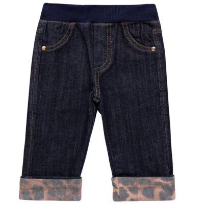Imagem 1 do produto Calça para bebe jeans c/ cós em ribana e barra dobrável - Grow Up - 03060163.0058 CALCA DENIM FEM FORRADA JEANS-G