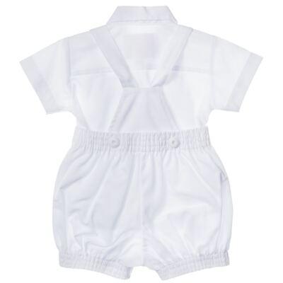 Imagem 2 do produto Jardineira c/ Camisa para bebe em tricoline Branca - Sylvaz - SZ411 Conjunto curto Batizado Branco-M