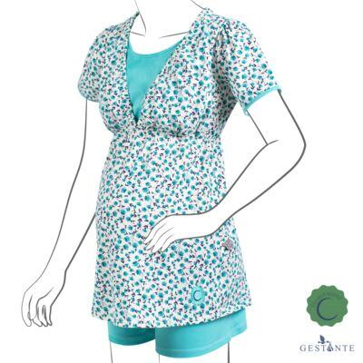 Imagem 1 do produto Pijama Gestante Amamentação Flowery - Cia da Noite