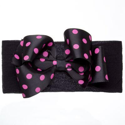 Imagem 1 do produto Faixa meia Maxi Laço gorgurão Poá Preto/Pink - Roana