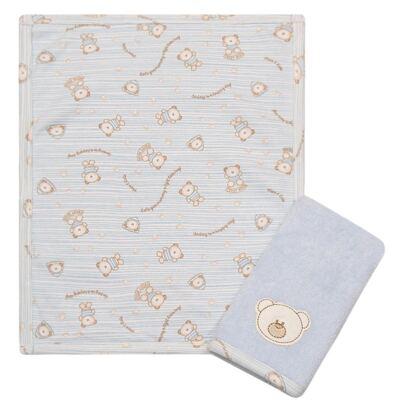 Imagem 1 do produto Kit com 2 fraldas de boca atoalhadas Friend Blue Bear - Classic for Baby