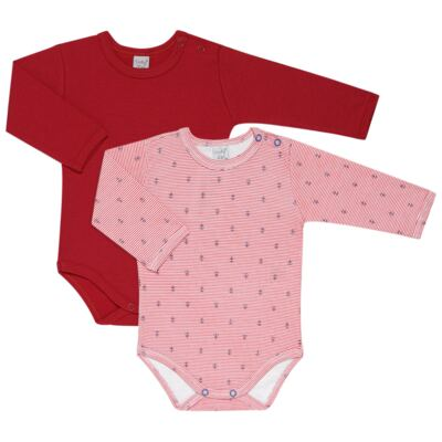 Imagem 1 do produto Kit 2 Bodies longos para bebe Red Anchor - Vicky Lipe - LTPBML07 PACK 2 BODIES ML LISTRA ÂNCORA/VERMELHO-P