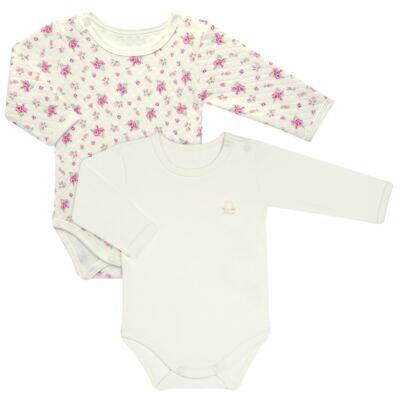 Imagem 1 do produto Kit 2 Bodies longos para bebe em suedine Marfim Florale - Grow Up - 09100097.0004 KIT BODIES FLOWERS ML CREME-P