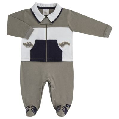 Imagem 1 do produto Macacão longo para bebe em suedine Crocodile - Anjos Baby - AB171120.018 MACACAO LONGO MASC T11-P