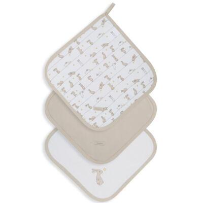 Imagem 1 do produto Kit com 3 fraldinhas de boca para bebe em suedine Coelhinhos - Dedeka