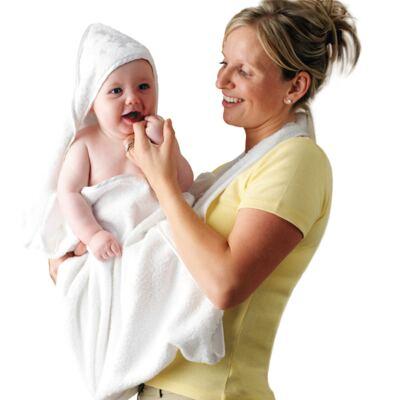 Imagem 2 do produto Toalha Mamãe Bebê com capuz Branca- Clevamama