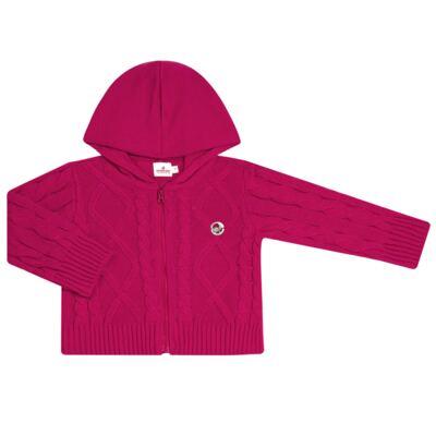 Imagem 1 do produto Casaco com capuz em tricot trançado Pink - Missfloor - 76TT0001.376 SWEATER COM TRANÇAS - TRICOT-3
