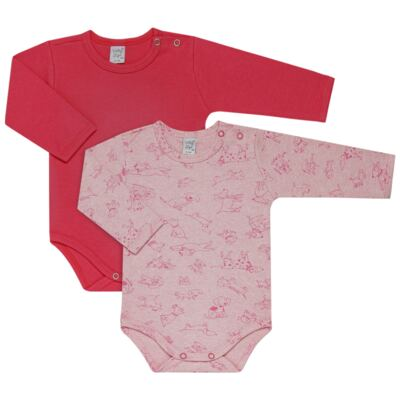Kit 2 Bodies longos para bebe Little Dog - Vicky Lipe - LTPBML08 PACK 2 BODIES ML CACHORRINHO MELANGE/PINK-M