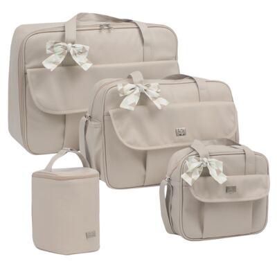 Imagem 1 do produto Mala maternidade + Bolsa + Frasqueira térmica + Porta Mamadeira Laço Marfim - Hey Baby
