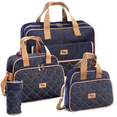 Imagem 1 do produto Mala maternidade para bebe + Bolsa maternidade + Frasqueira térmica + Porta mamadeira Jeans - Majov