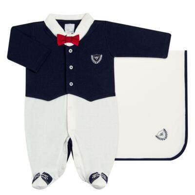 Imagem 1 do produto Jogo Maternidade: Macacão Casaco + 2 Gravatas Borboleta + Manta em suedine Lord - Anjos Baby - AB163653M KIT MACACAO MANTA CHIC-P