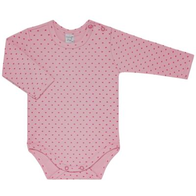 Imagem 2 do produto Kit 2 Bodies longos para bebe Pink Little Hearts - Vicky Lipe - LTPBML02 PACK 2 BODIES ML CORAÇÃO ROSA BB/PINK-P
