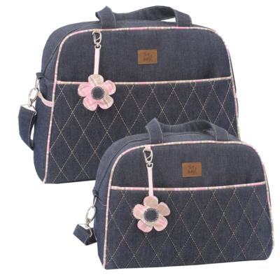 Imagem 1 do produto Bolsa maternidade para bebe + Frasqueira New Little Flower Jeans - Hey Baby