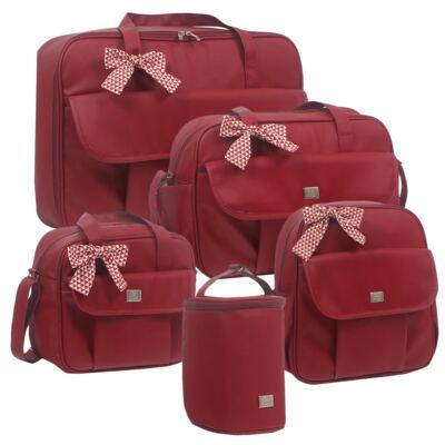 Imagem 1 do produto Mala maternidade + Bolsa + Frasqueira térmica + Mochila + Porta Mamadeira Laço Vermelho - Hey Baby