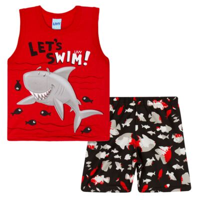 Regata com Bermuda tactel Red Shark - Livy