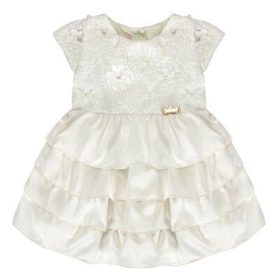 Imagem 1 do produto Vestido para bebe em renda e cetim Valentina - Miss Sweet - SW1037 Vestido Gripper Baby Marfim-1