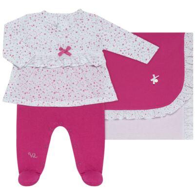 Imagem 1 do produto Jogo Maternidade para bebe com Macacão e Manta em malha Little Cute - Vicky Lipe - 21381362 JG MATERNIDADE MACA-VESTIDO MALHA ELEFANTINHO-P