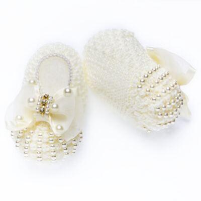 Imagem 3 do produto Sapatinho em tricot Laço Strass & Pérolas Marfim - Roana