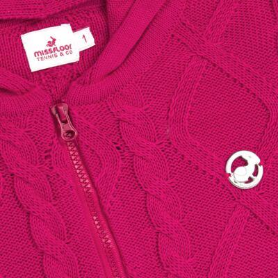 Imagem 2 do produto Casaco com capuz em tricot trançado Pink - Missfloor - 76TT0001.376 SWEATER COM TRANÇAS - TRICOT-2