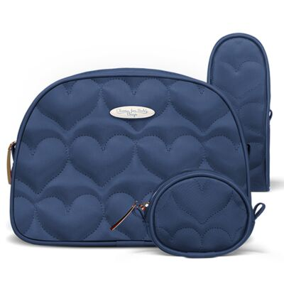 Imagem 1 do produto Kit Acessórios para bebe Coração Matelassê Marinho - Classic for Baby Bags