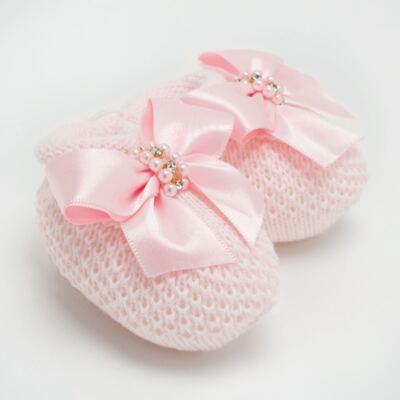 Imagem 2 do produto Sapatinho para bebe em tricot laço cetim Rosa - Roana