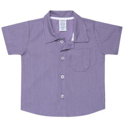 Imagem 1 do produto Camisa para bebe em tricoline Listras - Sylvaz - SZ1127 CAMISA LISTRAS MC ROXO-M