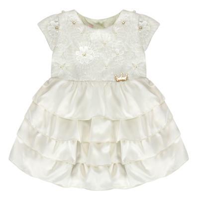 Imagem 1 do produto Vestido para bebe em renda e cetim Valentina - Miss Sweet - SW1037 Vestido Gripper Baby Marfim-G