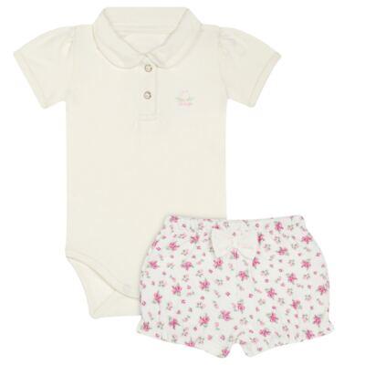 Imagem 1 do produto Body Polo com Shorts para bebe em suedine Florale - Grow Up - 04080008.0004 CONJUNTO FLOWERY CREME-G
