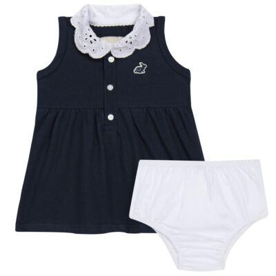 Imagem 1 do produto Vestido curto com Calcinha para bebe em piquet Marinho - Missfloor - 18VC0001.365 VESTIDO POLO REGATA C/CALCINHA-PIQUET-9-12