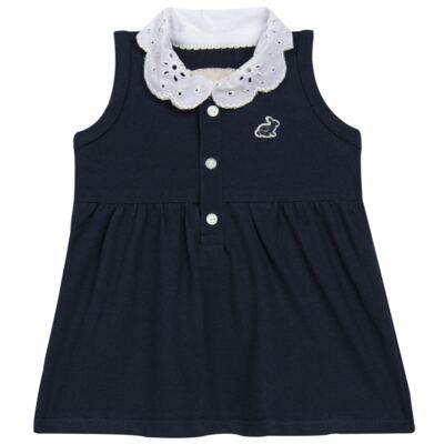 Imagem 2 do produto Vestido curto com Calcinha para bebe em piquet Marinho - Missfloor - 18VC0001.365 VESTIDO POLO REGATA C/CALCINHA-PIQUET-9-12