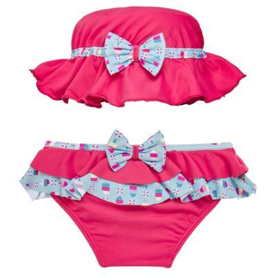 Imagem 1 do produto Conjunto de banho Sweet Candy: Biquini + Chapéu - Dedeka - DDK17433/L17 Calcinha e Chapeu Rosa Pink-1
