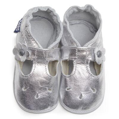 Imagem 1 do produto Sapatilha Boneca para bebe em couro Eco Prata - Babo Uabu - BABO35 Sandalia Boneca Prata-0-6 meses
