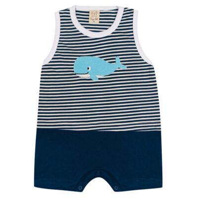 Imagem 1 do produto Macacão regata para bebe Baleinha - Pingo Lelê - PL65850.MR MACACÃO REGATA MARINHO LISTRA-M