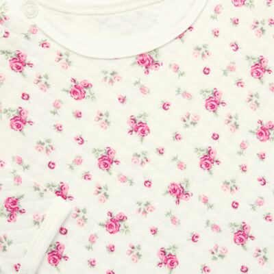 Imagem 3 do produto Kit 2 Bodies longos para bebe em suedine Marfim Florale - Grow Up - 09100097.0004 KIT BODIES FLOWERS ML CREME-G