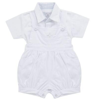 Imagem 1 do produto Jardineira c/ Camisa para bebe em tricoline Branca - Sylvaz - SZ411 Conjunto curto Batizado Branco-P
