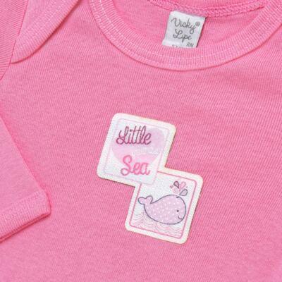 Imagem 5 do produto Pack 2 Bodies longos para bebe em high comfort Cute Whale - Vicky Lipe - 20471334 PACK BODY ML MALHA BALEIA-RN