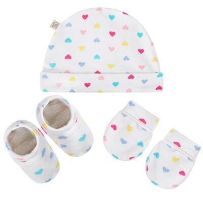 Imagem 1 do produto Kit c/ Touca, Luva e Sapatinho para bebe em malha Corações - Pingo Lelê