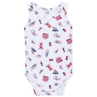 Imagem 1 do produto Body regata para bebe em suedine British - Vicky Lipe - 01090001.35 BODY REGATA - SUEDINE-GG
