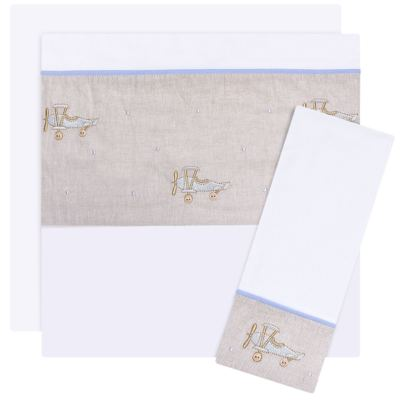 Imagem 1 do produto Jogo de lençol para berço em malha Aviõezinhos - Roana