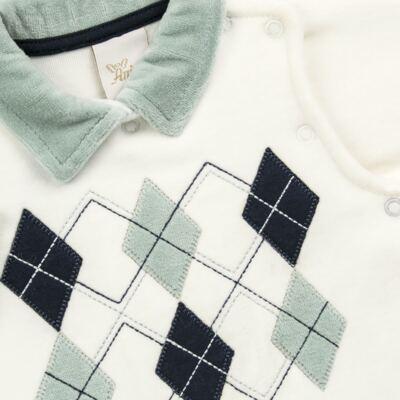 Imagem 2 do produto Macacão longo para bebe em plush Argyle - Anjos Baby - AB171129.006 MACACAO LONGO MASC T12-M