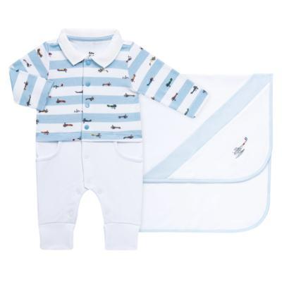 Imagem 1 do produto Jogo Maternidade com Macacão e Manta em algodão egípcio Aviões - Bibe