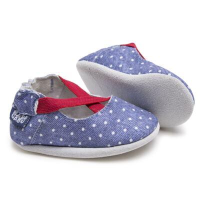 Imagem 2 do produto Sapatilha para bebe em couro Eco Mary Jane - Babo Uabu - BABO37 Sapatilha Mary Jane Jeans Poá Pink-6-12 meses
