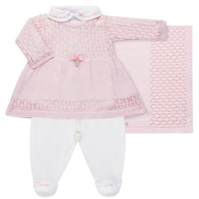 Imagem 1 do produto Jogo Maternidade para bebê: Body longo + Calça + Vestido + Manta em tricot Annie - Beth Bebê