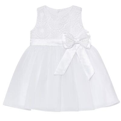Imagem 1 do produto Vestido para bebê em organza Laço Branco - Sylvaz - SZ1064 VESTIDO BATIZADO REGATA LAÇO BRANCO-M