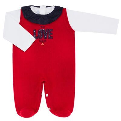 Imagem 1 do produto Jardineira com Body longo para bebe em tricot Love Sailor - Mini Sailor - 17354443 Jardineira Longa c/ Body Tricot Vermelho-0-3