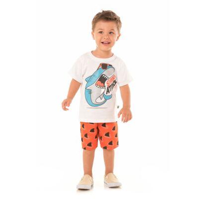 Imagem 4 do produto Camiseta branca com Bermuda tactel Tutubarão - Livy